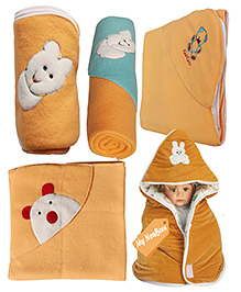My NewBorn Premium Multipurpose Baby Wrappers Beige - Pack Of 5