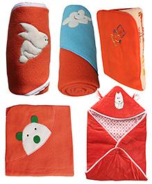 My NewBorn Premium Multipurpose Baby Wrappers Red - Pack Of 5