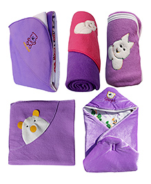 My NewBorn Premium Multipurpose Baby Wrappers Purple - Pack Of 5