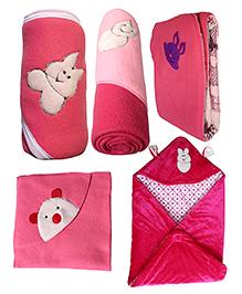 My NewBorn Premium Multipurpose Baby Wrappers Dark Pink & Purple - Pack Of 5
