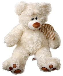 Play N Pets - Teddy Bear With Scarf Off White