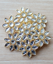 Pretty Ponytails Zardosi Flower Design Hair Clip - Gold