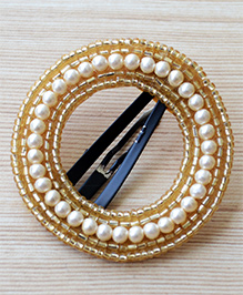 Pretty Ponytails Pearls & Beads Design Hair Clip - Gold & White