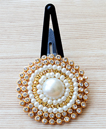 Pretty Ponytails Pearl & Stone Flower Design Hair Clip - Golden & White