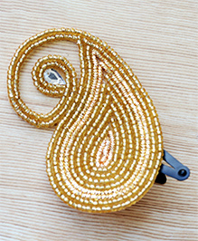 Pretty Ponytails Beads & Zardozi Paisley Design Hair Clip - Gold