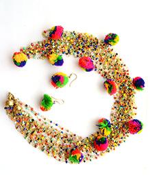 Pretty Ponytails Pom Pom Design Necklace & Earring Set - Multicolor