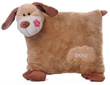 Play N Pets - 30 cm Soft Dog Shaped Cushion Brown