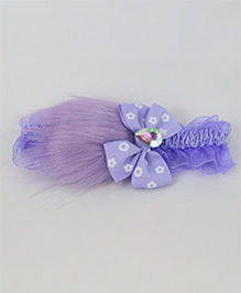 Tia Hair Accessories Bow Applique Fur Headband - Lavender