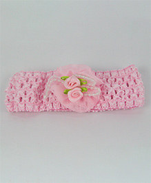 Tia Hair Accessories Rose Applique  Headband With Pearls - Baby Pink