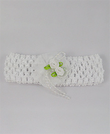 Tia Hair Accessories Rose Applique  Headband With Pearls - White