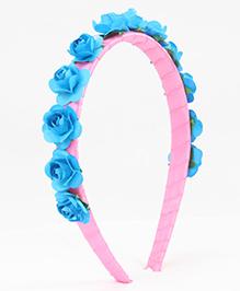 Tia Hair Accessories Rose Applique  Hairband - Blue