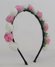 Tia Hair Accessories Rose Applique  Hairband - Baby Pink & White