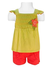 Nauti Nati - Cap Sleeves Smocked Top With Shorts Set
