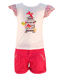 Nauti Nati - Bird Print Top And Shorts Set