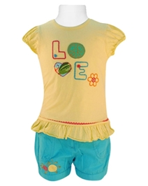 Nauti Nati - Top And Shorts Set With LOVE embroidery