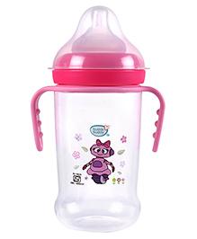Buddsbuddy Feeding Bottle With Handle Robot Print Pink - 250 Ml