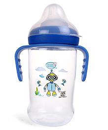 Buddsbuddy Feeding Bottle With Handle Robot Print Blue - 250 Ml