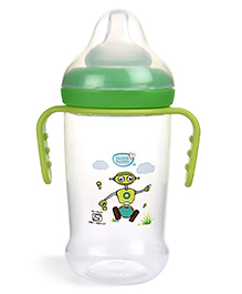 Buddsbuddy Feeding Bottle With Handle Robot Print Green - 250 Ml