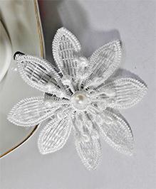 Sugarcart Lace Flower Applique Hair Clip - White