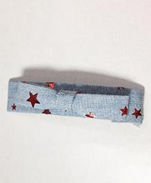Sugarcart Star Print Bow Hair Clip - Blue & Red