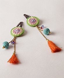 Samoolam Crafts Crochet Hair Clips With Tassels - Green