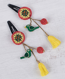 Samoolam Crafts Set Of 2 Crochet Hair Clips With Tassels - Yellow & Red