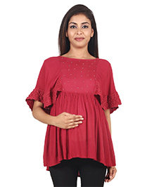 9teenAGAIN Pearls Embellished Half Sleeves Maternity Top - Red