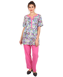 9teenAGAIN Flowers Printed Half Sleeves Nursing Night Suit - Pink