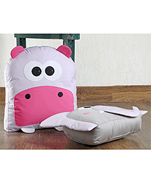 My Gift Booth Cushions Hippo & Elephant Design Grey Pink - Pack Of 2