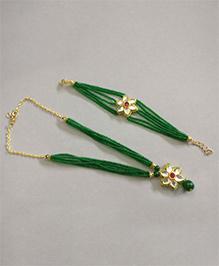 Tiny Closet Floral Design Ethnic Necklace & Bracelet Set - Dark Green