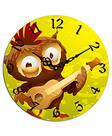 Studio Shubham Owl Printed Wooden Wall Clock - Green
