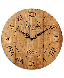 Studio Shubham Roman Number Wooden Wall Clock - Brown