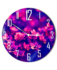 Studio Shubham Floral Design Wooden Wall Clock - Pink Blue