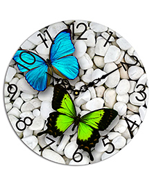Studio Shubham Butterfly & Pebbles Design Wooden Wall Clock - White Blue Green