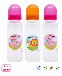 1st Step Anti Colic Feeding Bottle Pack Of 3 Pink - 250 Ml