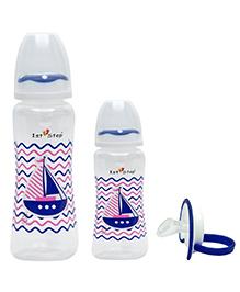 1st Step Feeding Bottle & Pacifier Pack Of 3 White & Blue - 250 Ml