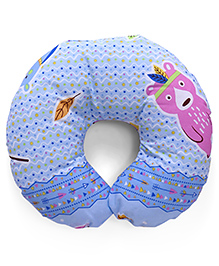 Bear Printed Baby Neck Support Pillow - Blue