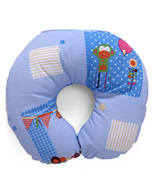 Monkey Printed Baby Neck Support Pillow - Blue