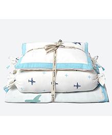 Masilo Linen For Littles Dream Wings New Baby Mini Organic Cotton Cot Set Aeroplane Print - White Sky Blue