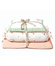 Masilo Linen For Littles Dream Wings New Baby Mini Organic Cotton Cot Set Flamingo Embroidery - White Peach