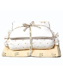 Dream Wings New Baby Mini Organic Cotton Cot Set Sheep Print - White Orange
