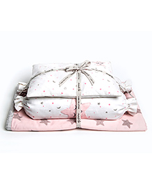 Masilo Linen For Littles Dream Wings New Baby Mini Organic Cotton Cot Set Star Embroidery - White Pink