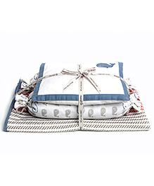 Masilo Linen For Littles Dream Wings New Baby Mini Organic Cotton Cot Set Whale Print - White Blue