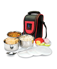 Falcon Tuff Double Wall Tiffin 3 Piece Container With One Spoon & Insulated Bag - Black