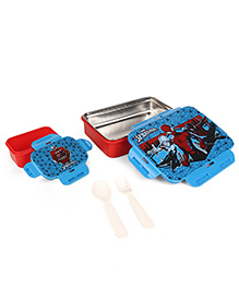 Marvel Spiderman Lunch Box Insulated Plus Stainless Steel Inside - Red & Blue