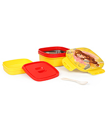 Disney Princess Belle Insulated Lunch Box With Stainless Steel Inside - Yellow & Red