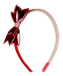 Pikaboo Sparkly Hair Band With Bow Applique - Red
