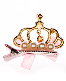 Pikaboo Alligator Hair Clip With Crown Applique - Pink & Gold