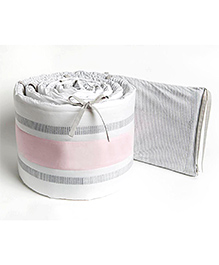 Masilo Linen For Littles Nursery Basics Reversible Cot Bumper - Grey Pink