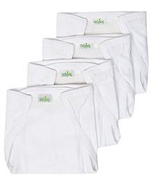 Babyhug Hosiery Velcro Nappy White Small -  Set Of 4